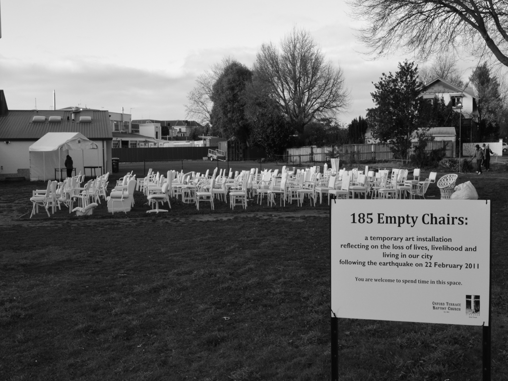 185 Empty White Chairs - Earthquake Memorial